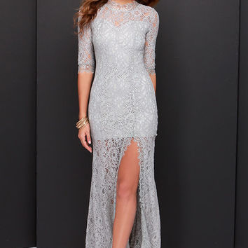Only One Light Grey Lace Maxi Dress
