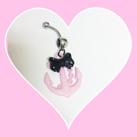 Pretty pink anchor belly button ring