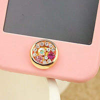 1PC Bling tiffany colorful rhinestone  Home Button Sticker for iPhone 4,4s,Apple iphone, 5 & iPad