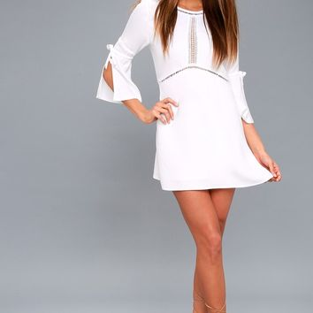 On the Go White Sheath Dress