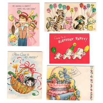 Vintage Birthday Party Invitations, Kids Party Invites, 1950s Greeting Cards, Juvenile Party Cards, Paper Ephemera, Invitation Card Lot of 5