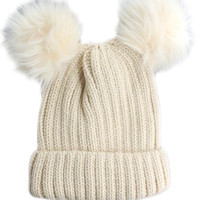 Double Fur Pom Pom Knit Beanie Hat - Biege
