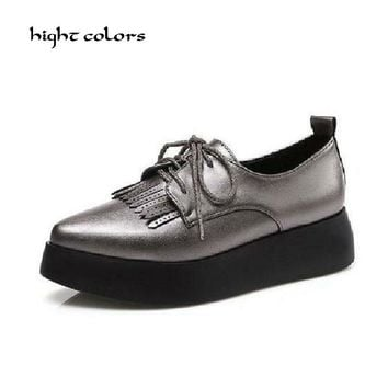 US Size 42 Black Tassel Creepers Platform Shoes For Women Oxfords Brogue Faux Leather Lace Up Pointed Toe Flats Shoes Woman