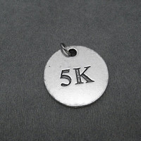 5K Round Pewter Pendant Charm - The Run Home's 5K Charm available only at The Run Home - ONE (1) 5K Charm - 5000 Meters - Road Race Charm