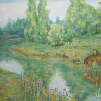 Country Rural Horse Landscape Meadow Field Summer Nature Forest Original Oil Painting for Living room Wall Decor Nursery Russian Painter Art