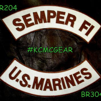 Semper Fi U.S. Marines Embroidered Military Patch Set Sew on Patches for Jackets