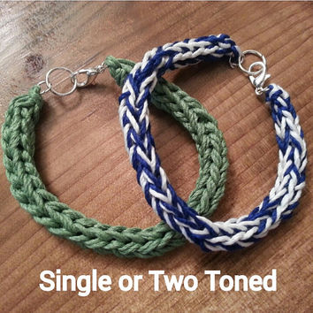 Customizable Single or Two Toned (Variety of Colors) Simple Hand Knit Bamboo I-Cord Bracelet