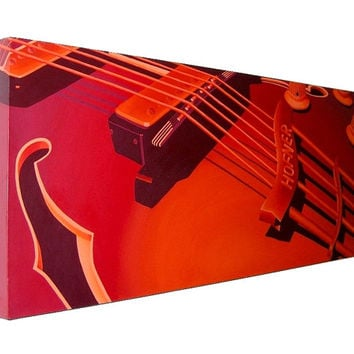 Red Guitar - Hofner Verithin acrylic painting (UK only)