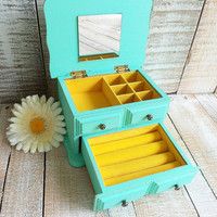 Small Vintage Shabby Chic Rustic Wooden Jewelry Box Painted Mint Green and Distressed Upcycled Refurbished