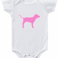 PINK dog graphic baby girl's short or long sleeve bodysuit or toddler t shirt
