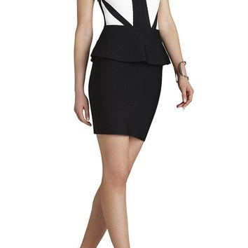 Posh Girl Color Black  Peplum Bandage Dress