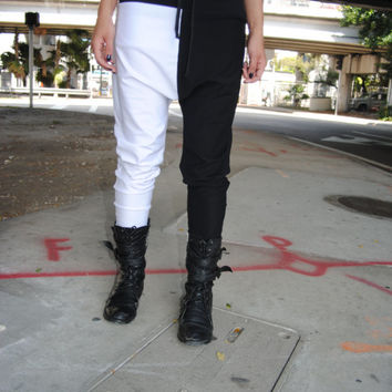 Half Black and White Cotton Lycra Drop Crotch - Harem Pants for Men and Women // Handmade