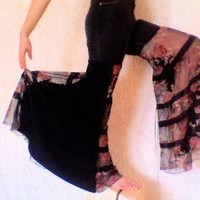 Upcycled Clothing â?? Reconstructed Pants â?? Sheer Black Wide Leg High Waist â?? Elegant Sexy Spanish Floral Print â?? Flamenco Jeans â?? Size 4 | Shades of Exaltation
