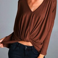 Eden Twist Top in Red-Brown