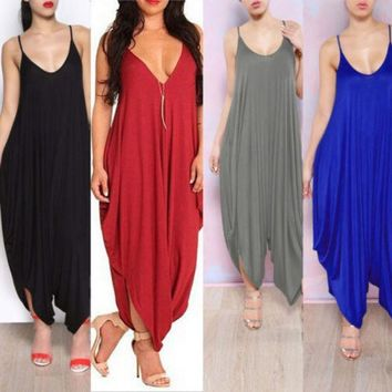 Hotcasual Women New V Neck All In One Beach Harem Jumpsuit Romper Playsuit Pants