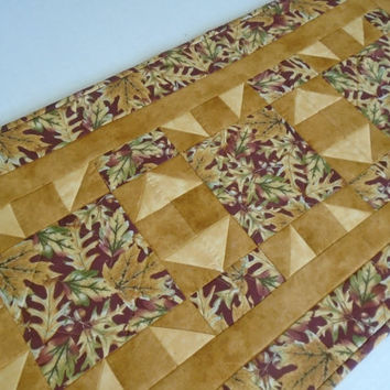 Rustic Fall Leaves Quilted Table Runner, Quilted Table Topper, Thanksgiving Runner, Gold Burgundy Tan