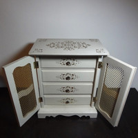 Vintage White and Gold Wooden Armoire Jewelry Box - Dresser Drawers/Chest - French or Italian Gold Gilt - Shabby Chic