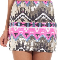 Warrior Princess skirt in pink print - sequinned aztec print mini skirt | SHOWPO Fashion Online Shopping