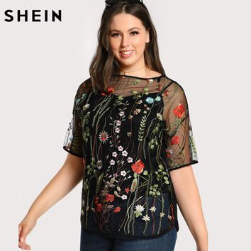 SHEIN Black Plus Size Blouse Fashion Embroidered Transparent Sexy Mesh Female Blouse Spring Autumn Short Sleeve Tops Blouse