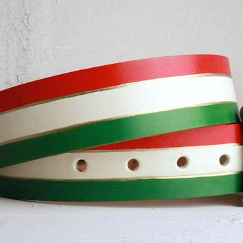 Flag of Italy / Mexico Hand Painted Belt Mexican Italian World Cup Wears! Mexico Flag Belt / Italy Flag Belt