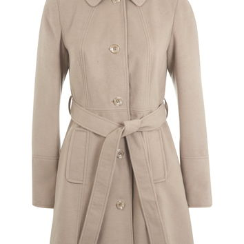 Single Breasted Belted Coat - Miss Selfridge