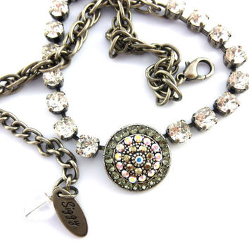 "Swarovski crystal Victorian style pendant necklace/choker, ""Edelle"" Fancy Embellished Centerpiece, Clear, metallic, AB, Siggy Jewelry"