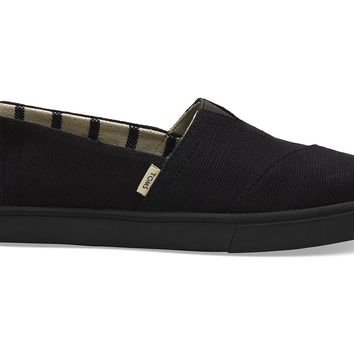 TOMS - Women's Cupsole Venice Collection Classics Black on Black Heritage Canvas Slip-Ons