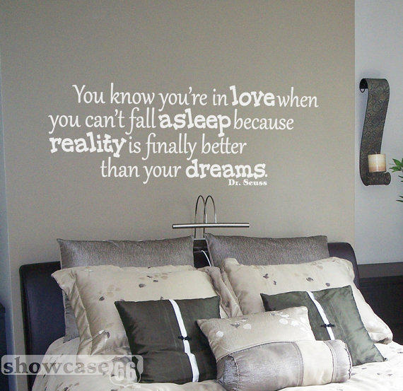 You know you're in love - Vinyl Wall Art - Dr. Seuss, Dreams, Sleep, Child, Bedroom, FREE Shipping