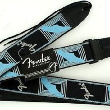 "Fender Guitar Strap Monogram 2"" Black Gray Blue Logo"