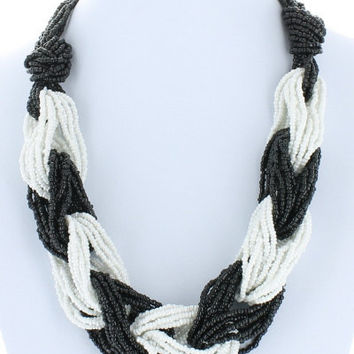 Trendy Twist Seed Bead Twisted Necklace Beaded Fashion Black White Bead Costume Jewelry Gift