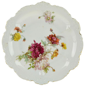 5 Floral Medium Plates Limoges Antique French circa 1900
