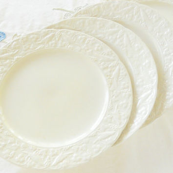 French Country White Crooksville Dinner Plates Set of 4, Modern Cottage, Tea Party Plates, Wedding