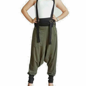 Extra Large Trousers Bib Ninja Pants Suspender , Gaucho Unisex, Ribbed Cotton,Two Tone Green/Black Colour.