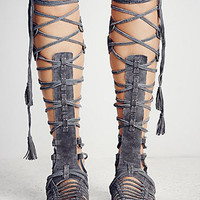 Dark Gray Suede Lace Up Gladiator Flat Sandals