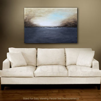 landscape painting original large painting gray brown seascape abstract art oil painting 24x36 by L.Beiboer