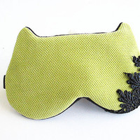Eye mask, Sleep mask, eye sleep mask, Kitty eye mask, Cat eye mask, Kitty sleep mask-Green