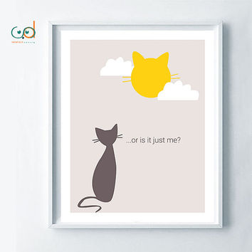 The Cat & The Moon- Original Funny Cat Illustration, Cat Gift Idea, Minimalist Cat Poster, Printable Cat Quote, Home Decor Cat, Cat Lovers