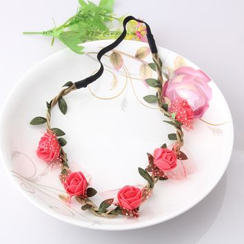 M MISM Girls Fashion Flowers Headbands Perfect Quality Wreath Hair Accessories for Women Floral Hair band Fine Garland Headwear