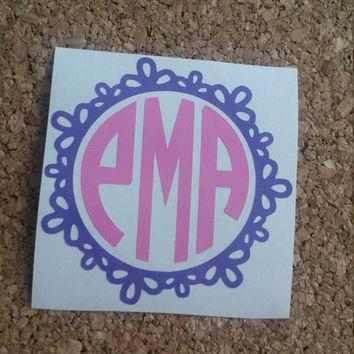 Fancy Scallop Monogram | Fancy Cut Decal | Princess Decal | Monogrammed Decal | Car Decal | Vinyl Decal | Fancy Decal