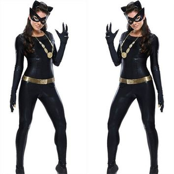 ESBONFI Women's  Latex Catsuit Catwomen Fancy Costume Cosplay DS Party Clothes With Gloes