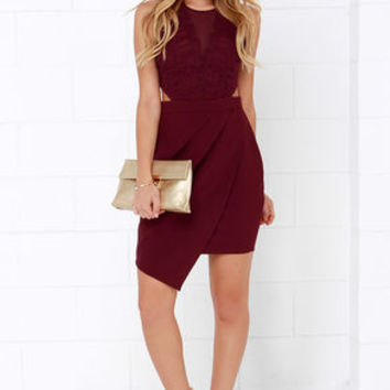 Dancing Cheek to Cheek Burgundy Lace Dress