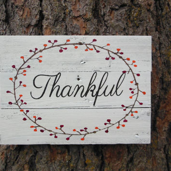 "Joyful Island Creations ""Thankful"" wood sign, thanksgiving sign, fall wood sign, fall decor, holiday wood sign"