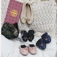 TB Tory Burch new cheap Women Leather Black flat heels sandals Fashion Casual Shoes Best Quality