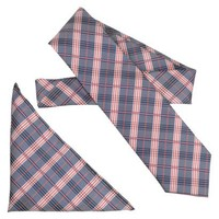 Daxx Men's Tie and Pocket Square Set - Navy/Red Plaid