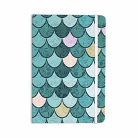 "Famenxt ""Mermaid Fish Scales"" Teal Nautical Illustration Everything Notebook"