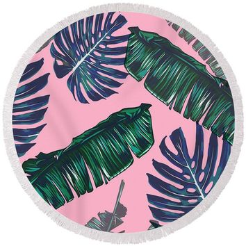 Pink And Palms Round Beach Towel
