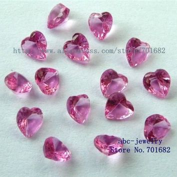 10pcs free ship 5mm birthstone Pink Tourmaline October heart floating charm for floating locket as families friends gift