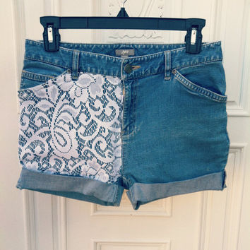 Lace-Denim High Wasited Shorts