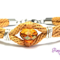 AZALEA Wire wrapped Kumihimo Bracelet, Braided Rope Bracelet with Swarovski Crystal Bead - Copper/Crystal Copper