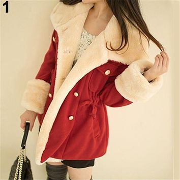 Women's Warm Winter Faux Fur Hooded Thick Solid Color Coat Overcoat Long Jacket Outwear With Slashes for Girls Ladies